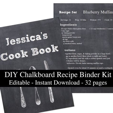 diy chalkboard recipe diy chalkboard printable recipe binder kit editable planner