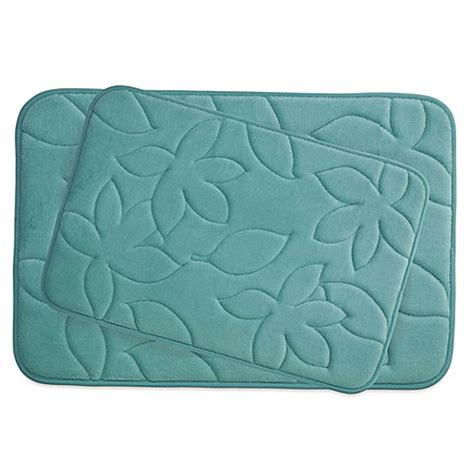 ruby memory foam comfort mat buy bounce comfort blowing leaves memory foam 2 bath mat set in blue from bed bath beyond