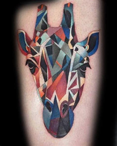geometric giraffe tattoo 90 giraffe tattoo designs for men long neck ink ideas