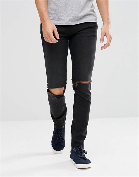 Cheap Monday Black Rips Knee Only lyst cheap monday tight black with knee rip