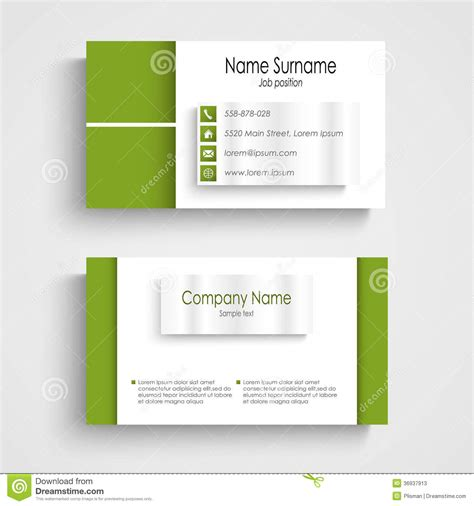 business card templates in vector modern green light business card template stock vector