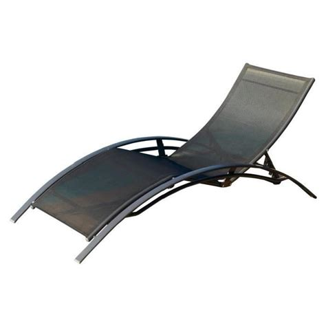 chaise longue de jardin pas cher lot de 2 chaises longues aluminium textil 232 ne noir achat