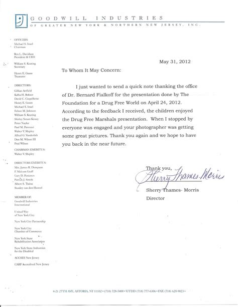 Goodwill Community Service Letter Our Office S Community Education Program Dr Bernard Fialkoff