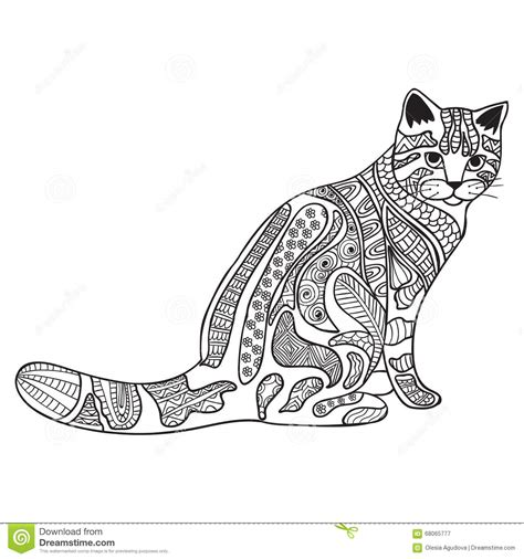 cats coloring book grayscale stress relief calming and relaxing coloring book portable books cat black and white doodle print with ethnic patterns