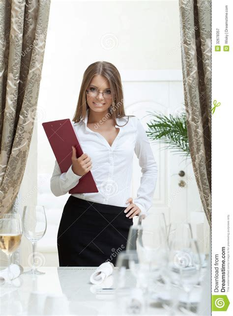 image of attractive hostess smiling in restaurant stock image image 32678357