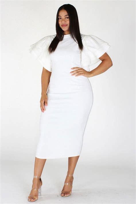 Ruffled Sleeve Midi Dress plus size gala ruffle sleeves midi dress plussizefix