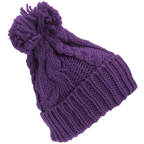 cable knit pom pom hat womens heavyweight cable knit winter hat with pom pom ebay