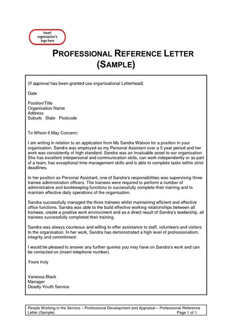 letter of recommendation templates professional reference letter template best business