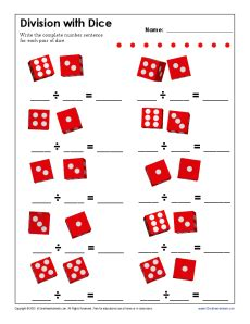 free printable dice addition worksheets division with dice free printable math worksheets