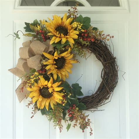 Sunflower Door Wreath by Fall Wreath Wreath For Door Sunflower Wreath Autumn