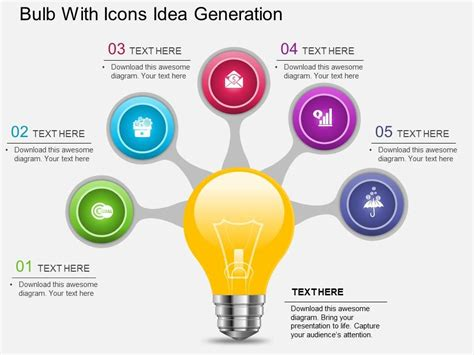product design idea generation af bulb with icons idea generation powerpoint template