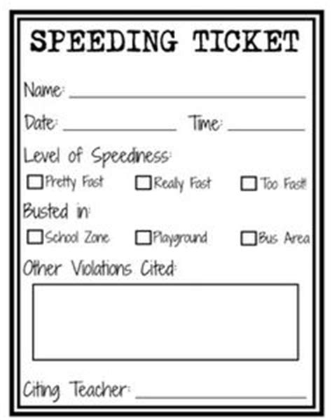 blank speeding ticket template 1000 ideas about speeding tickets on classroom and classroom economy