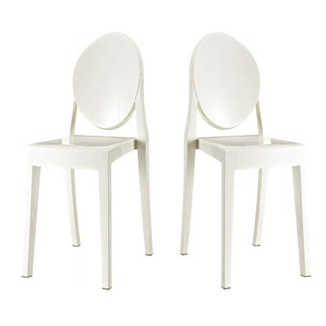 Set Of 2 Victoria Style Ghost Dining Chair White Color Ghost Chair Dining Set