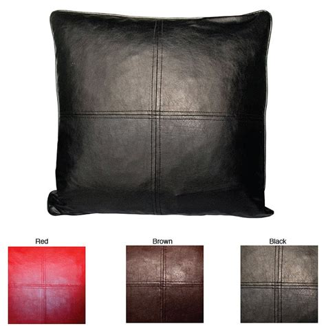 throw pillows for black leather faux leather decorative feather and fill throw