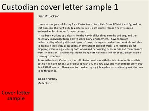 cover letter for custodian custodian cover letter