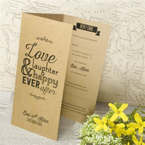 laughter kraft tri fold wedding invitation wedding print