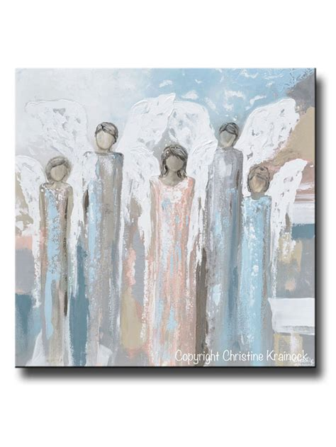 original art wall decor home decor modern art european art original abstract angel painting 5 guardian angels home