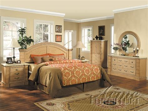 bedroom set with marble top marble top 6 piece mystic bedroom set in maple finish by