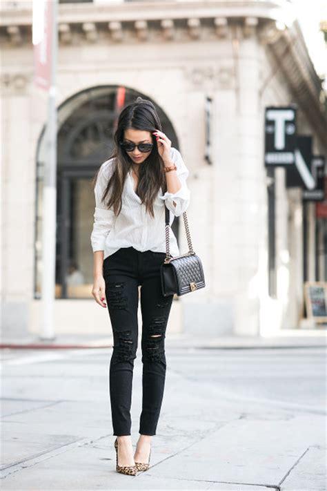 Ripped Putih 8 celana hitam wanita pilihan dan 8 atasan yang