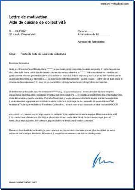 lettre de motivation aide cuisine d饕utant lettre de motivation aide de cuisine de collectivit 233 mod 232 le