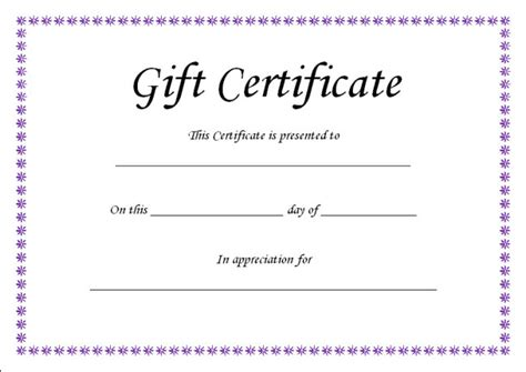 simple gift certificate template simple design of gift voucher certificate template