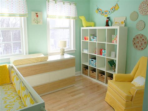 yellow baby bedroom bookcase changing table blue and yellow baby room light