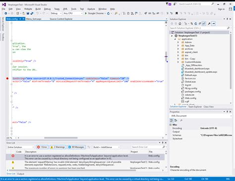 visual studio errors in web config in asp net application stack overflow