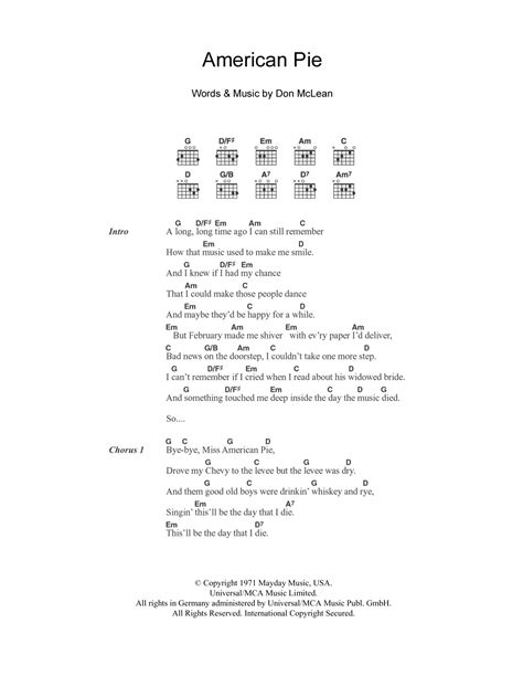 guitar tutorial american pie american pie by don mclean guitar chords lyrics guitar