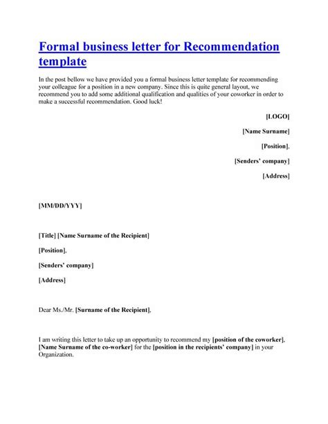template of recommendation letter 43 free letter of recommendation templates sles