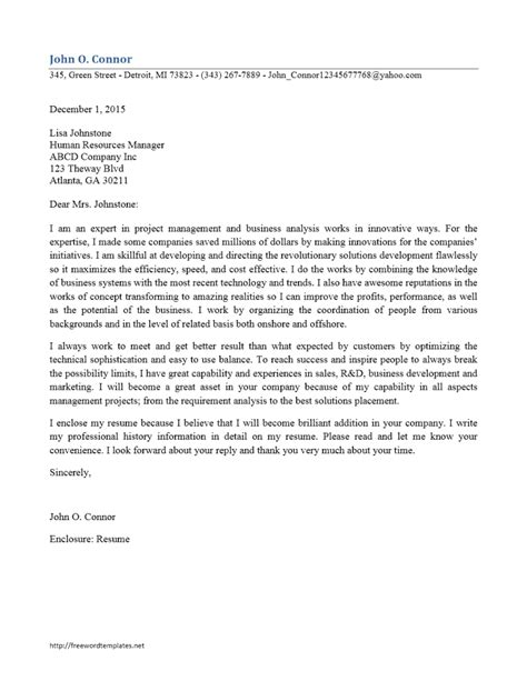 business student cover letter business analyst cover letter