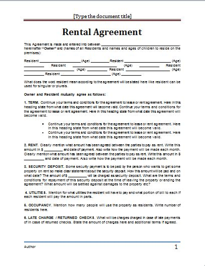 Free Lease Agreement Template Word Ms Word Rental Agreement Template Word Document Templates