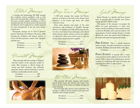massage therapy brochures portfolio massage therapy