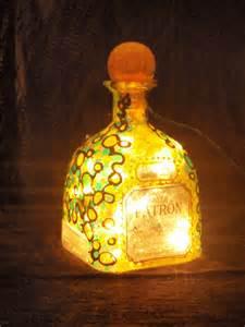patron liquor bottle light painted