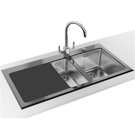 Glass Kitchen Sink Franke Kubus Kbv 651 Black Glass 1 5 Bowl Inset Kitchen