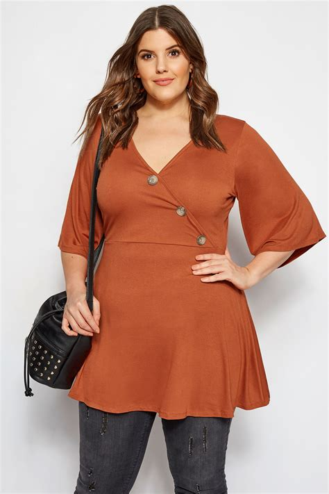 limited out 3 days in row plus size limited collection rust button wrap top sizes