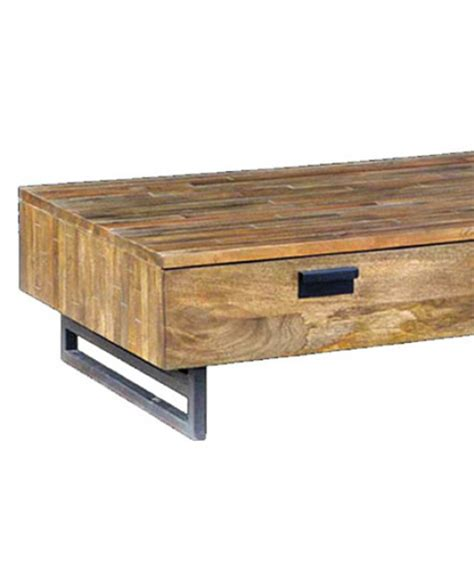 modern low mango wood coffee table with storage drawers
