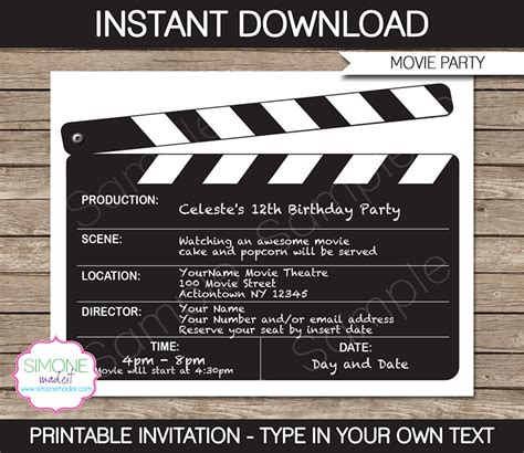 7 best images of movie night free printable template