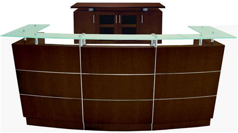 Glass Top Walnut Welcome Desk Glass Reception Desk
