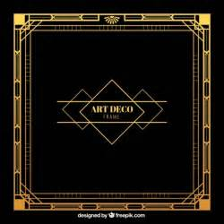 deco templates golden frame in deco style vector free