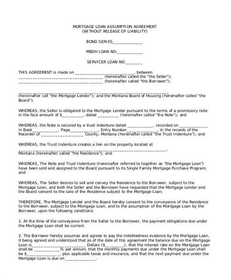 sle loan agreement template free mortgage assumption agreement template 28 images sle