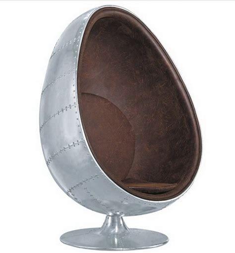 Metal Egg Chair | promotional space aluminum skin shell chair fiberglass liner rivets aluminum metal chair ball