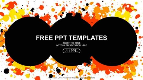 templates powerpoint graffiti grunge circle with cmyk ink splashes powerpoint templates