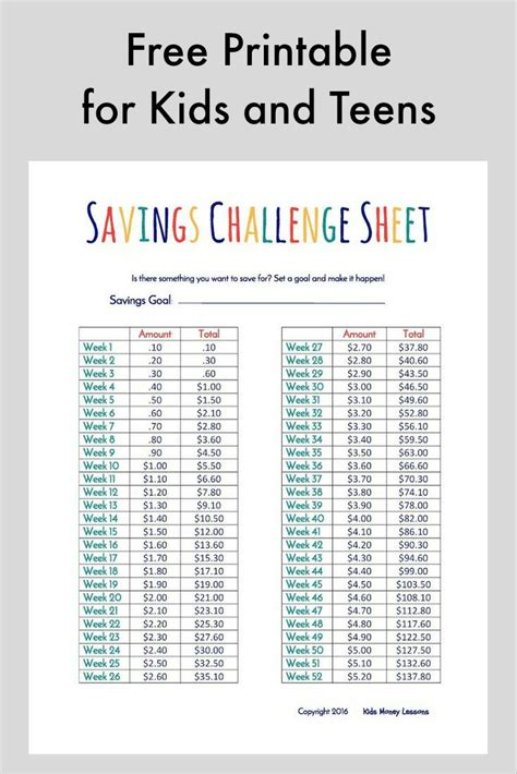 challenges for teenagers challenge and to save their money free printable