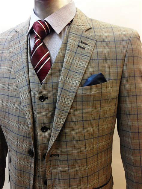 designer mens checked vintage 3 suit blazer jacket