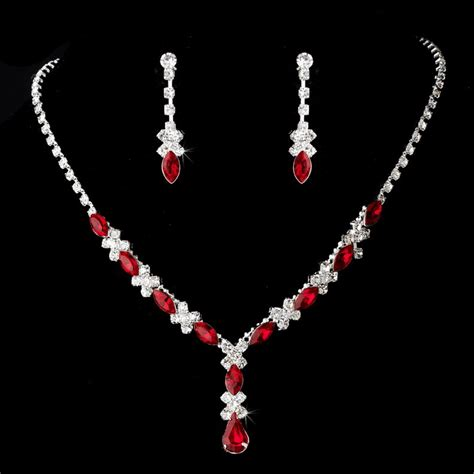 Red Rhinestone Jewelry Set for Quinceanera, Mis Quince Anos or Prom