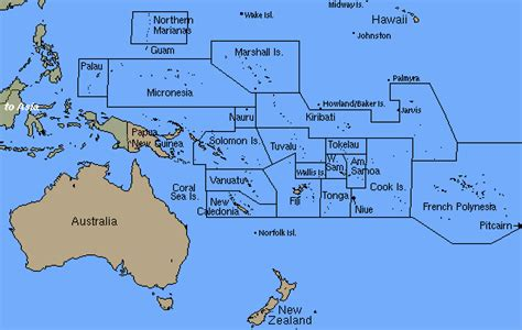 oceania map with country names the lory link