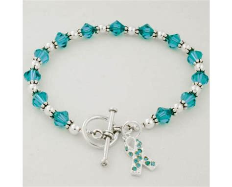swarovski bead bracelet ovarian cancer awareness swarovski beaded bracelet