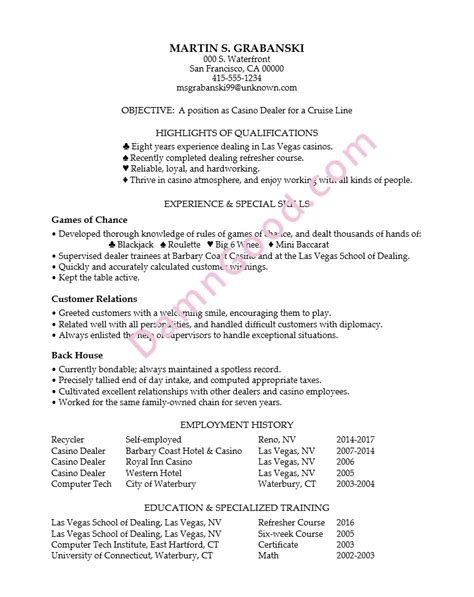 No College Degree Resume Sles Archives Damn Good Resume Guide Casino Resume Template