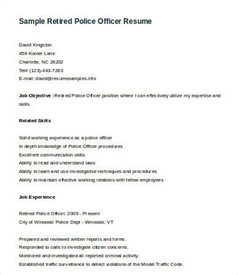 Retired Resume by 6 Officer Resume Templates Pdf Doc Free