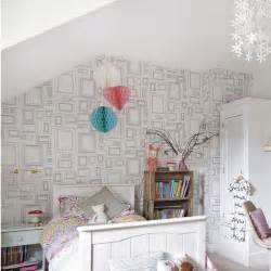 Minimalist white teenage girl s bedroom with feature wallpaper